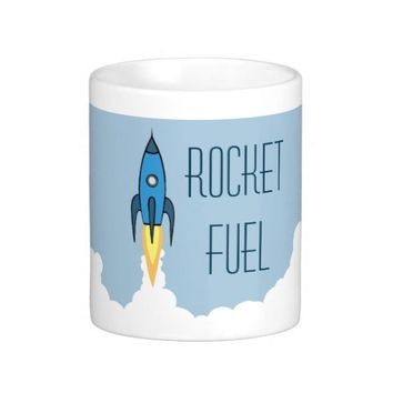 Rocket Fuel Blue Rocketship Classic White Coffee Mug