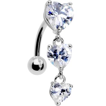 Clear CZ Gem Tri Heart Top Mount Dangle Belly Ring