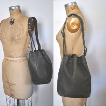 Coach Bucket Bag / DISTRESSED black leather drawstring purse tote