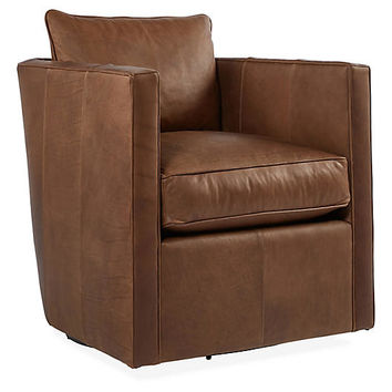 Rothko Swivel Chair, Saddle Brown Leather - Club Chairs - Chairs - Living Room - Furniture | One Kings Lane