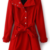 ROMWE | Controlled Waist Red Wollen Coat, The Latest Street Fashion
