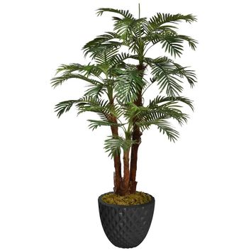 """71.6"""" Artificial Palm Tree with Burlap Kit in 13.6"""" Black Decorative Honeycomb Planter"""
