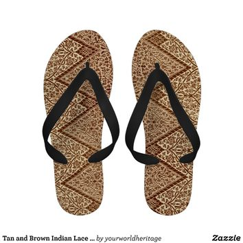 Tan and Brown Indian Lace Vintage Design Pattern Sandals
