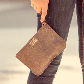 Dark brown leather pouch, Leather wristlet, Leather clutch bag, Removable strap, Zipper pouch