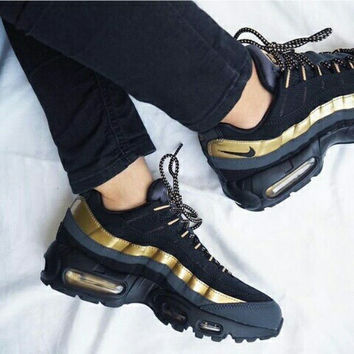 NIKE Air max  Sneakers Running Sports Shoes Black+golden H-CSXY