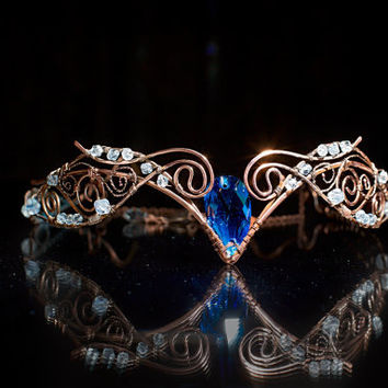 "Tiara ""Swan Princess"" Weddings Hair accessory Fairy Circlet Diadem oxidized antiqued Swarovski crystal Copper wire wrapped jewerly"