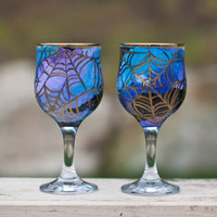 Set of 2 Halloween Glasses: Hand Painted Witch Wine Glasses