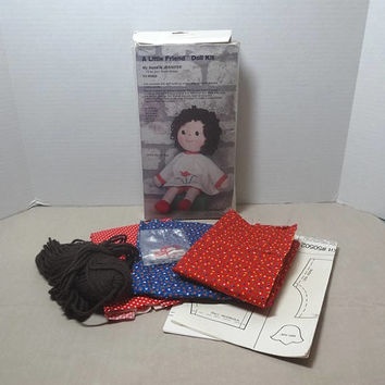 1982 Vintage A Little Friend Doll Kit Pattern for Jennifer by Haystacker, Includes Fabric & Yarn, Doll Making Supplies, Vintage Sewing Kit