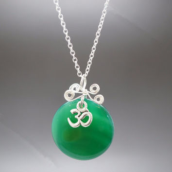 Green Agate Sterling Silver Necklace Om Necklace Wrapped Green Agate Stone Necklace Chakra Healing  Yoga Necklace