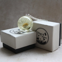 Real Dandelion Seed Head Necklace. Unique Resin Sphere Orb Globe Pendant 30 mm. Nature. Whole Fluffy Dandelion Head.