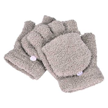 Girls Cute Fluffy Hand Wrist Warmer Soft Winter Fingerless Gloves Women Mitten khaki
