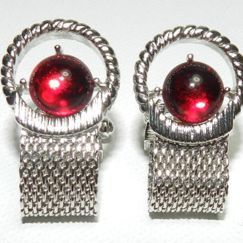 60s Retro Wraparound Cufflinks Merlot Red Cabochon Silver Tone Cufflinks Mens Tie Accessories Mad Men Style