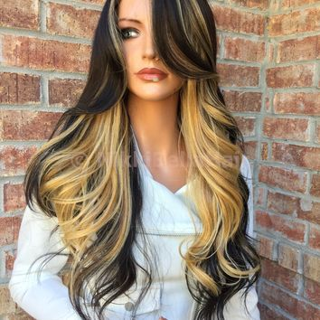 """Black Blond Lace Part Full Wig 22"""""""