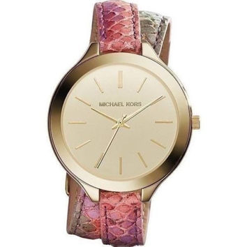 Michael Kors Original Women's Slim Runway Gold Watch Leather Strap  MK2390