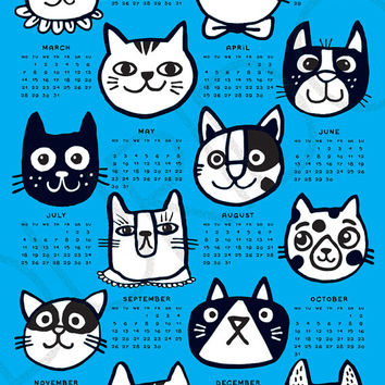 Wall calendar 2016 - 12 Cats - blue - A3, A3+ size / kids room decor