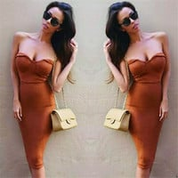Strapless Pure Color Bodycon Keen-length Party Dress