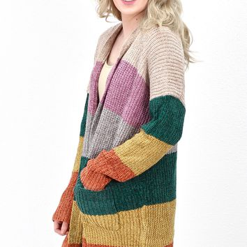 Chenille Multi Stripe Block Cardigan {Oatmeal Mix}