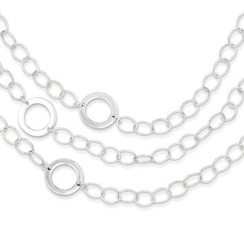 Sterling Silver 7.5 Inch Polished Triple Circle Link Bracelet