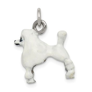 925 Sterling Silver Enameled White Poodle Charm and Pendant