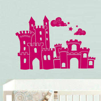 rvz587 Wall Vinyl Sticker Bedroom Decal Nursery Kids Baby Castle Princess Magic (Z587