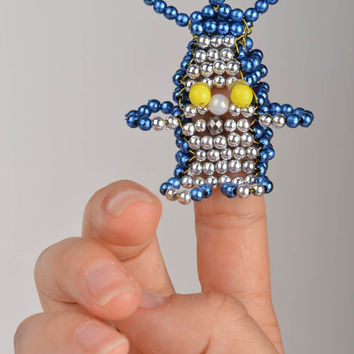 Handmade finger toy rabbit made of the Chinese beads for puppet theater