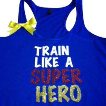 Train Like A Super Hero in Blue Racerback