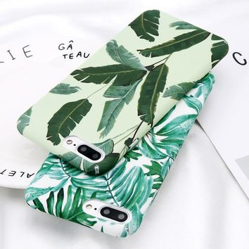 Fashion Leaf Case For iPhone 8 7 6 6S Plus Painted Green Leaves Pattern Back Cover plant cactus Hard PC Protective Coque shell