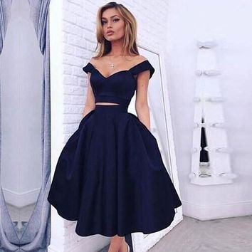 Elegant Navy Blue A Line Sweetheart Satin 2 pieces Cocktail Dress 2017 Formal Tea Length Graduation Prom Gowns Robe De Cocktail