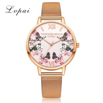 LVPAI Flower Ladies Watches Women Fashion Watch 2017 Gift Mesh Stainless Steel Band Metal Watch Bracelets Relogio Feminino