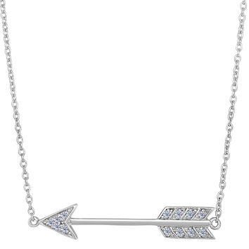 Sterling Silver With Cz Sideways Arrow Necklace - 18 Inch