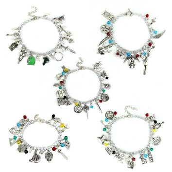 Fashion Jewelry Alice Game of Throne Legend of Zelda Supernatural Charm Bracelet Mix Model for Women Girls Gift