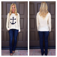 Nautical Anchor Sweater - CREAM