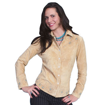 Scully Womens Chamois Boar Studded Suede Western Shirt