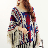 Multicolor Geometry Pattern Batwing Sleeve Tassle Cape Jumper