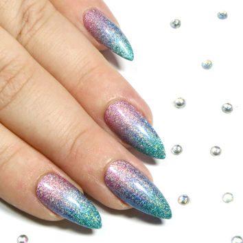 Fake Nails - Stiletto Nails - Press On Nails - Stick On Acrylic Nails - Glue On Nails -  Holographic Glitter Ombre Nail Set - Pink Blue Teal