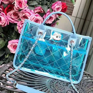Chanel Fashion Shopping Bag Jelly Bags - Crystal Bags B-AGG-CZDL Blue