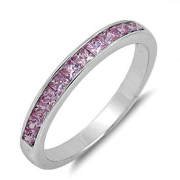 Sterling Silver Pink Topaz CZ Princess Cut Wedding Band Ring size 5-10