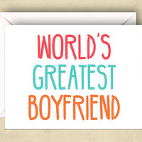 World's Greatest Boyfriend Card,  5.5 x 4.25 Inch (A2), Cute Love Card, Cards for Boyfriend, Cute Valentine Card, Pink, Blue, Orange