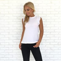 Butterfly Ruffle Sleeveless Tee In White