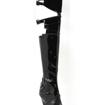 6 Inch Pointed Stiletto Heel Thigh High Stretch Boots (12,Black)