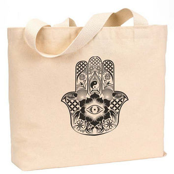 "Hamsa art Canvas Jumbo Tote Bag 18""w x 11""h"