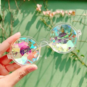 DCCKJ1A Stylish Unisex Kaleidoscope Glasses Cute Psychedelic Sunglasses