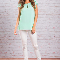 Smile And Wave Blouse, Mint