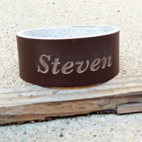 "Custom Personalized Engraved 1"" Leather Bracelet, Christmas, birthday, special occasion gift"