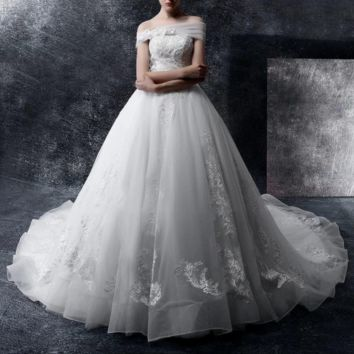 Luxury Appliques Beading Wedding Dresses New Off-shoulder Ball Gown Puffy Bridal Gowns