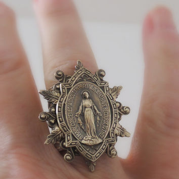 Vintage Ring - Virgin Mary Ring -  Vintage Brass Jewelry - Adjustable Ring - handmade jewelry
