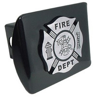 Firefighter (Chrome and Black) All Metal Black Hitch Cover