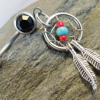 Red and Turquosie Dream Catcher Belly Button Ring Jewelry
