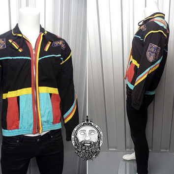 Vintage 90s Black Hipster Jakpak Jacket Fresh Prince Color Block Multicolor Bali Clothing 90s Bomber Jacket Hippy Jacket Bali Sekar Sali