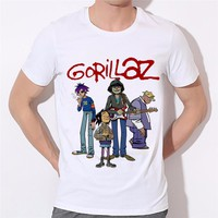 Ready Stock,Rock Band Gorillaz Summer O Neck Graphic T-shirts For Men,Women Funny Cartoon Design Tops Male Clothing,HCP1730